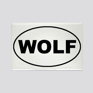Wolf oval-white Rectangle Magnet