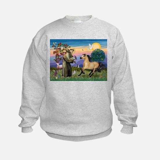 St. Francis & Buckskin horse Sweatshirt