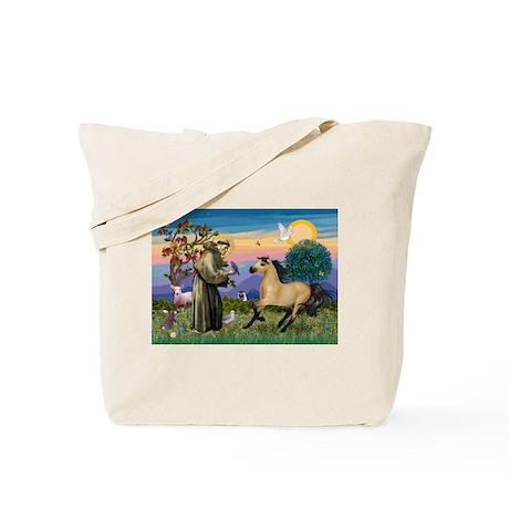 St. Francis & Buckskin horse Tote Bag