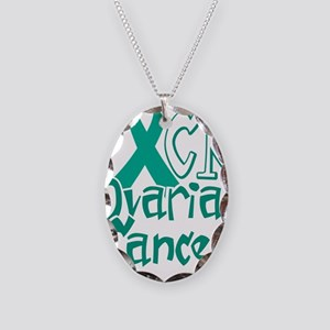 Fuck-Ovarian-Cancer-blk Necklace Oval Charm