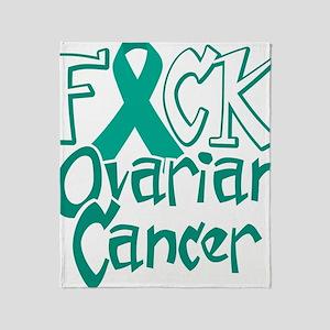 Fuck-Ovarian-Cancer-blk Throw Blanket