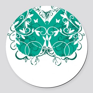 Ovarian-Cancer-Butterfly-blk Round Car Magnet