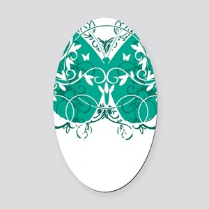 Ovarian-Cancer-Butterfly-blk Oval Car Magnet