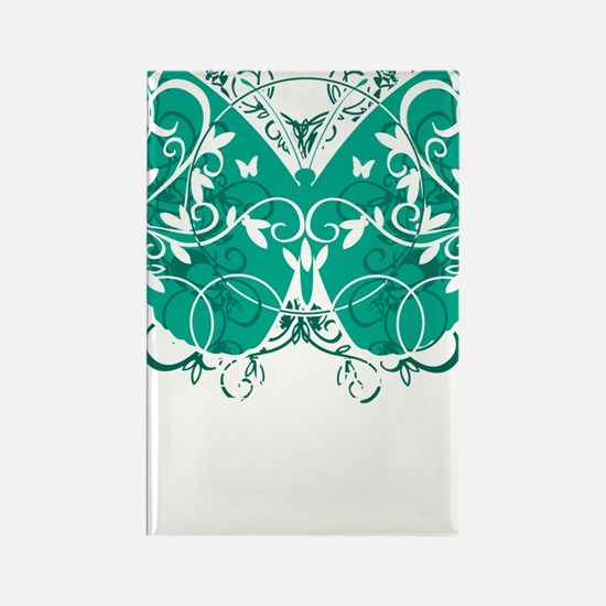 Ovarian-Cancer-Butterfly-blk Rectangle Magnet