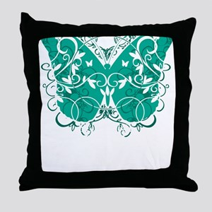 Ovarian-Cancer-Butterfly-blk Throw Pillow