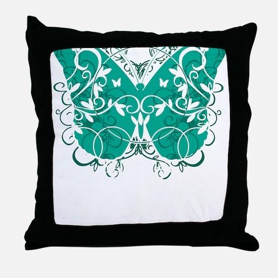 Ovarian-Cancer-Butterfly-blk Throw Pillow