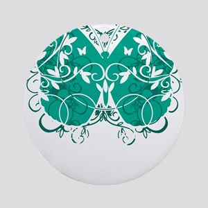 Ovarian-Cancer-Butterfly-blk Round Ornament