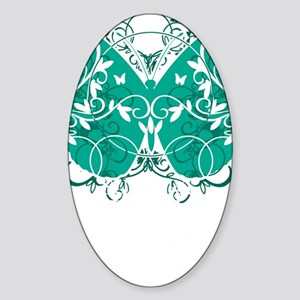 Ovarian-Cancer-Butterfly-blk Sticker (Oval)
