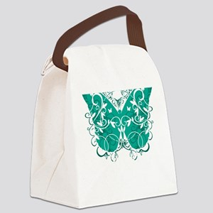 Ovarian-Cancer-Butterfly-blk Canvas Lunch Bag