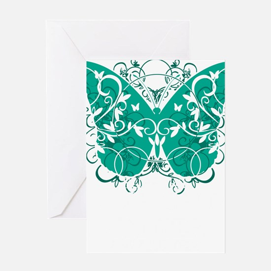 Ovarian-Cancer-Butterfly-blk Greeting Card