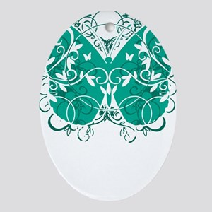Ovarian-Cancer-Butterfly-blk Oval Ornament