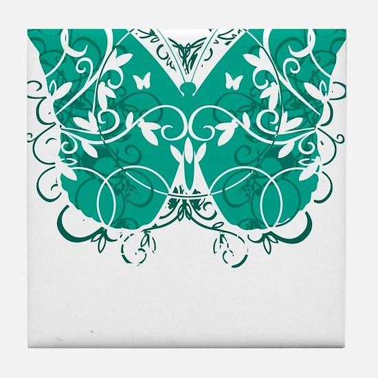 Ovarian-Cancer-Butterfly-blk Tile Coaster