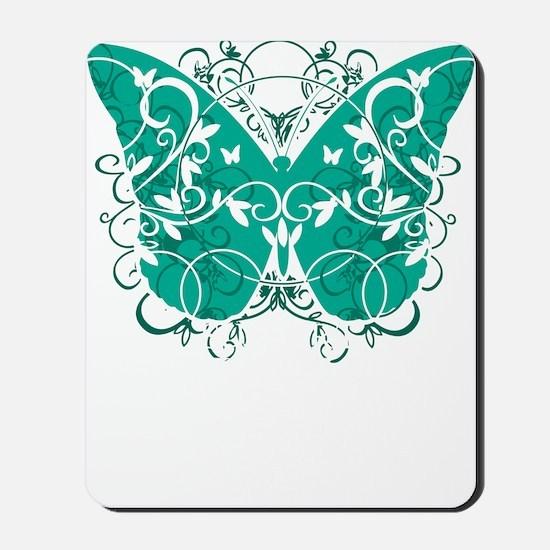 Ovarian-Cancer-Butterfly-blk Mousepad