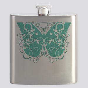 Ovarian-Cancer-Butterfly-blk Flask