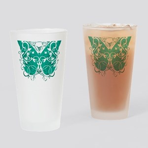 Ovarian-Cancer-Butterfly-blk Drinking Glass