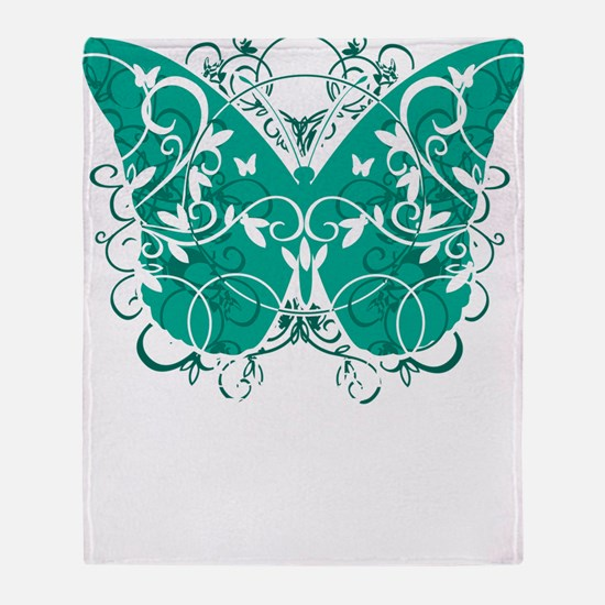 Ovarian-Cancer-Butterfly-blk Throw Blanket
