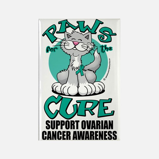 Paws-for-the-Cure-Cat-Ovarian-Can Rectangle Magnet