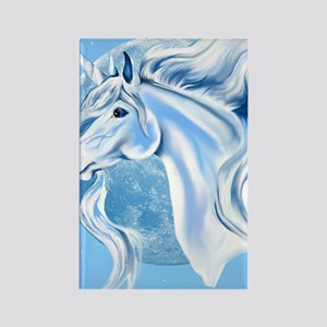 Sky Blue and White Unicorn Poster Rectangle Magnet