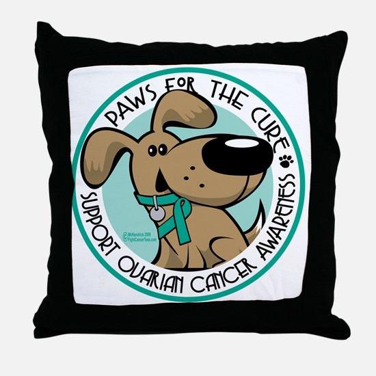 Paws-for-the-Cure-Ovarian Throw Pillow
