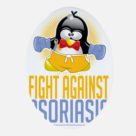 Psoriasis-Boxing-Penguin Oval Ornament