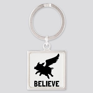 Flying Pig Believe Keychains