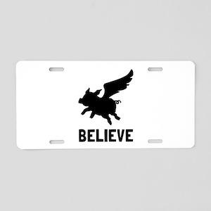 Flying Pig Believe Aluminum License Plate