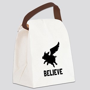 Flying Pig Believe Canvas Lunch Bag