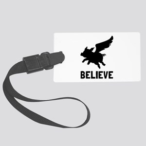 Flying Pig Believe Luggage Tag
