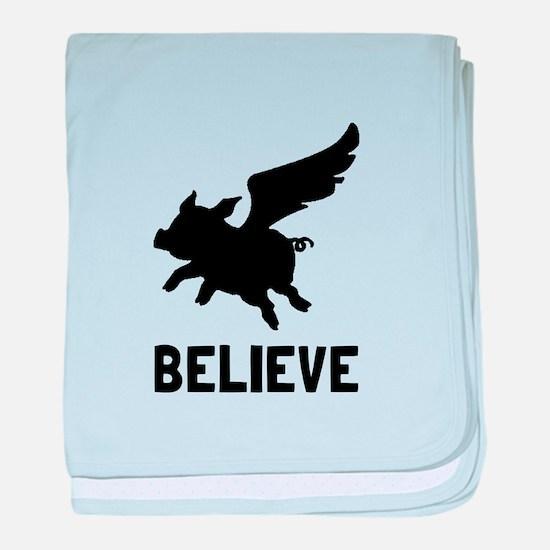 Flying Pig Believe baby blanket