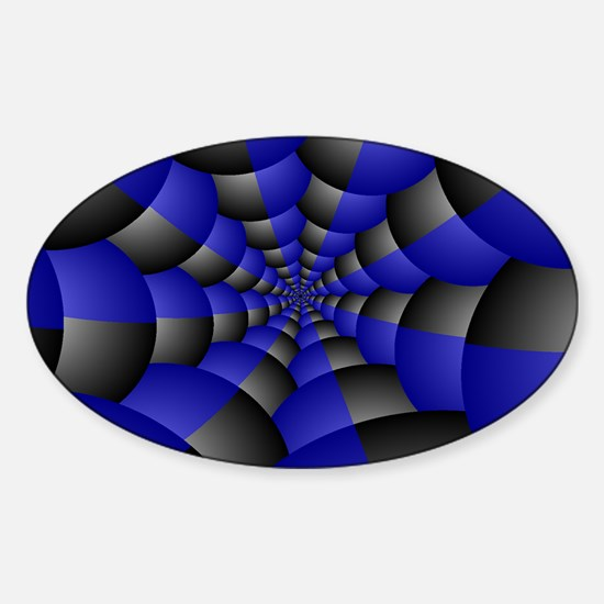 Black and Blue Spheres Sticker (Oval)