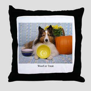 Woof or Treat Throw Pillow