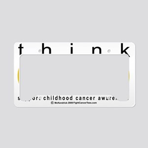 Childhood-Cancr-Think-GOLD License Plate Holder