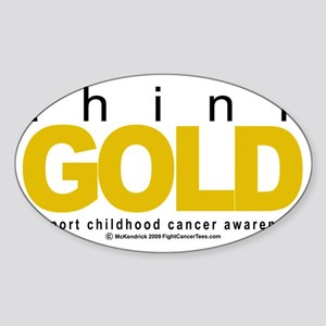 Childhood-Cancr-Think-GOLD Sticker (Oval)