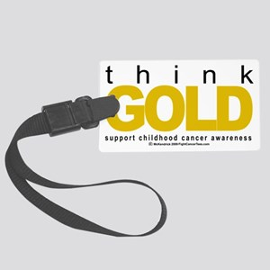 Childhood-Cancr-Think-GOLD Large Luggage Tag