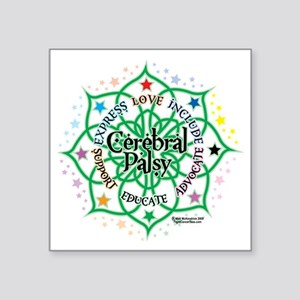 "Cerebral-Palsy-Lotus Square Sticker 3"" x 3"""