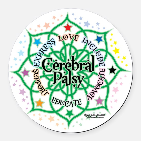 Cerebral-Palsy-Lotus Round Car Magnet