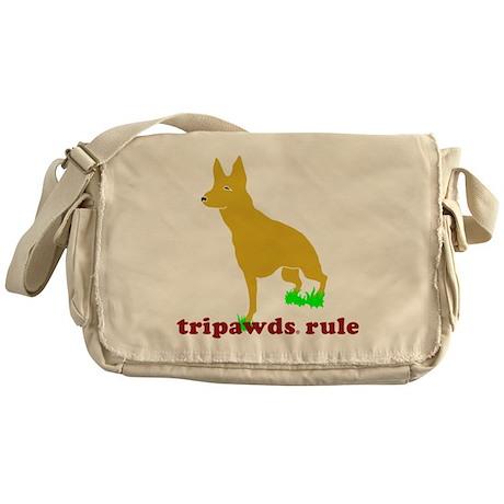 Tripawds Rule Font Leg GSD Messenger Bag