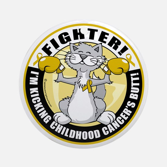 Childhood-Cancer-Cat-Fighter Round Ornament