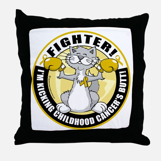 Childhood-Cancer-Cat-Fighter Throw Pillow