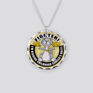Childhood-Cancer-Cat-Fighter Necklace Circle Charm