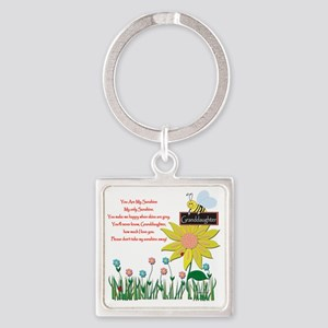 You Are My Sunshine Grandaughter Square Keychain