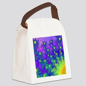 Purple Swirling Sun Canvas Lunch Bag