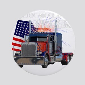 2-Am_Dark_Peterbilt_CP Round Ornament