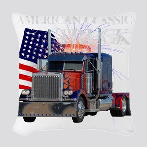 2-Am_Dark_Peterbilt_CP Woven Throw Pillow