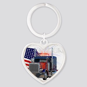 2-Am_Dark_Peterbilt_CP Heart Keychain