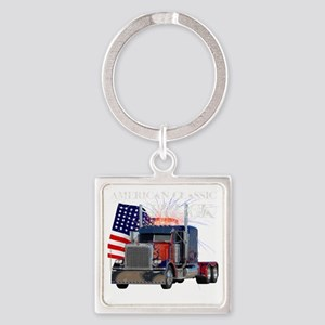 2-Am_Dark_Peterbilt_CP Square Keychain