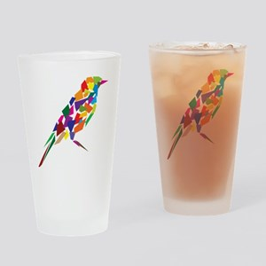 Abstract Colorful Bird Drinking Glass