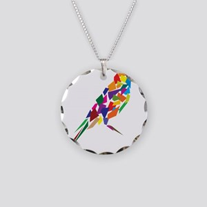 Abstract Colorful Bird Necklace Circle Charm