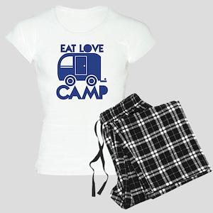 EAT LOVE CAMP with a caravan campervan pajamas