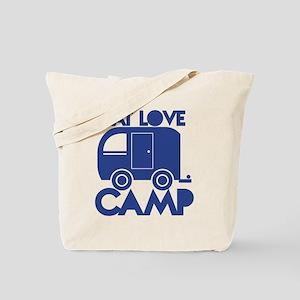 EAT LOVE CAMP with a caravan campervan Tote Bag